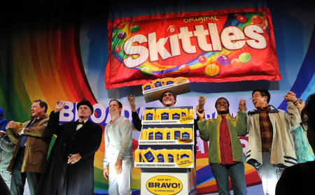 Michael S. Hall and cast of The Skittles Musical on Broadway